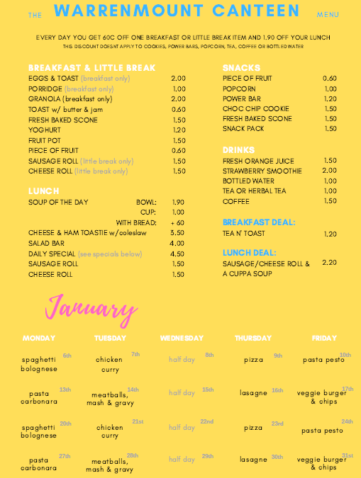 Warrenmount Canteen January Menu